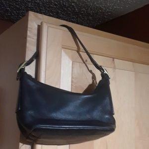Coach Black Leather Mini Baguette Bag